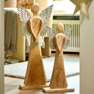 Weihnachtsdeko HOLZ ENGEL mit Aluflügeln H 78 cm