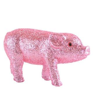 Dekofigur SCHWEINCHEN SOLNA GiftCompany Glitzer rosa B 20 | 14 | 9 cm