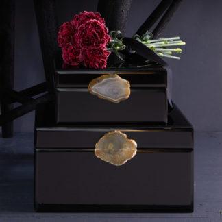 Schmuckkästchen Spiegelbox MIROIR GiftCompany Lack schwarz mit Achat B 30 cm