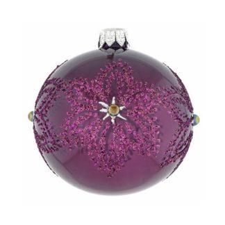 Weihnachtskugel 2er Set KERRY FLOCKE berry ø 8 cm