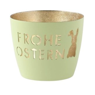 "Windlicht MADRAS ""Frohe Ostern"" GiftCompany mint gold H 8,5 cm"