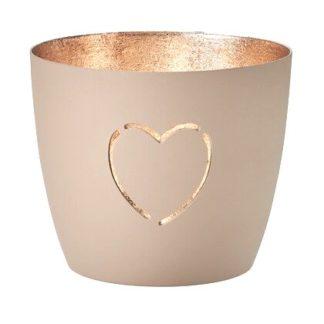 "Windlicht MADRAS ""Herz"" GiftCompany sandstone gold H 8,5 cm"