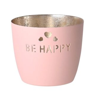 "Windlicht MADRAS ""be happy"" GiftCompany blush gold H 8,5 cm"