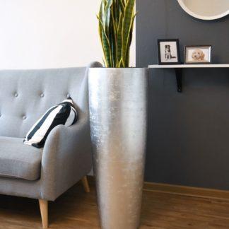 Bodenvase CHARLOTTE Hochglanz silber H 100 | 120 cm