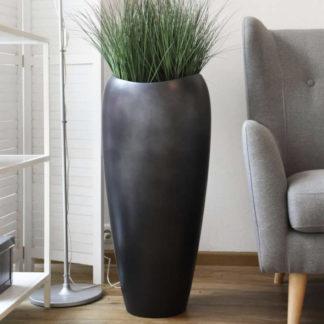 Bodenvase CLOTHILDE Hochglanz silber anthrazit seidenmatt H 81 cm