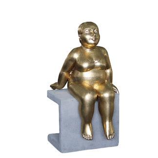 Dekofigur SCHWIMMERIN auf Sockel sitzend bronze H 51 cm