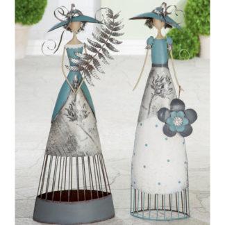 Dekofigur LADY Casablanca Metall grau H 66 cm