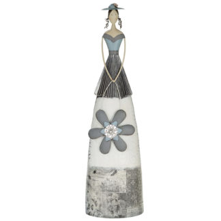 Figur LADY MIT BLUMENMUSTER Casablanca Metall grau H 76 | 90 cm
