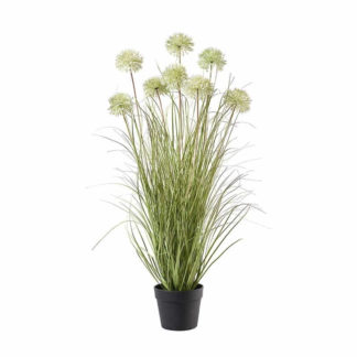Kunstblume GRAS IM TOPF weiß H 94 cm
