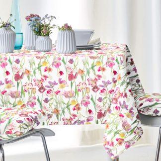 Tischdecke SPRINGTIME 6449 Apelt 150 x 250 | 100 x 100 cm - schöne Frühlingsblumen auf edlem Satingewebe, Frühling pur.