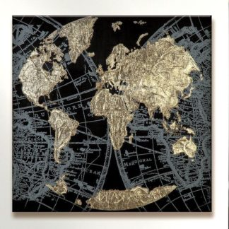"Leinwandbild auf Keilrahmen ""Golden Earth"" Casablanca 90 x 90 cm - edle Interpretation des Planeten Erde in schwarz und gold."