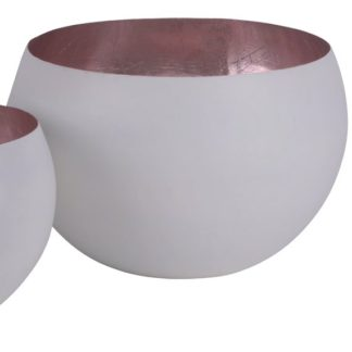 Windlicht 2er Set MADRAS GiftCompany grau/roségold ø 40 | 30 cm