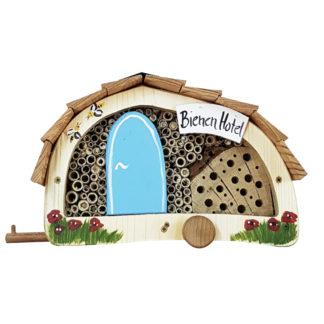 Bienenhotel WOMO mit Lamellendach Vogelvilla blau H 15 cm