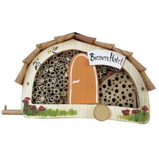 Bienenhotel WOMO mit Lamellendach Vogelvilla orange H 15 cm