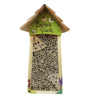 Bienenhotel groß BIENEN Glück mit Lamellendach Vogelvilla kiwi H 34 cm