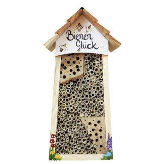 Bienenhotel groß BIENEN Glück mit Lamellendach Vogelvilla weiß H 34 cm