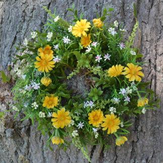 Kunstblume Blumenkranz GÄNSEBLÜMCHEN gelb ø 33 cm