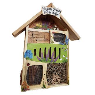 Insektenhotel Insektenquartier groß FÜR FLOTTE BIENEN & SÜSSE KÄFER Vogelvilla grün H 58 cm