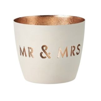 "Windlicht MADRAS GiftCompany ""MR & MRS"" weiss/gold ø 10 cm"