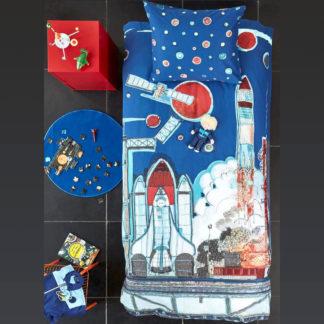 Kinderbettwäsche 135x200 cm ROCKET SHIP blue Beddinghouse Kids