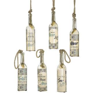 LED-Glasflasche zum hängen FLASCHENPOST 6 Designs H 30 cm