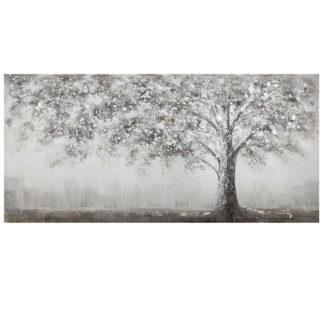 """Leinwandbild auf Keilrahmen """"SOLITÄRBAUM"""" Casablanca grau braun 140 x 70 cm - Gemälde von einem edlen Baum, handgemalt auf Leinwand."""