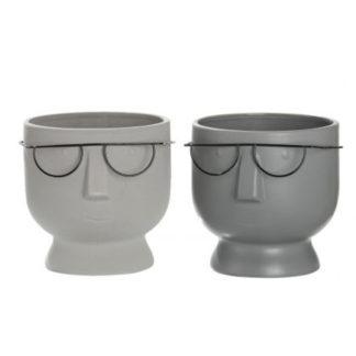 Übertopf | Pflanzgefäß 2er-Set THEO & TORSTEN Keramik grau H 16 cm