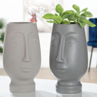 Übertopf | Pflanzgefäß 2er-Set TIM & TOM Keramik grau H 26 cm