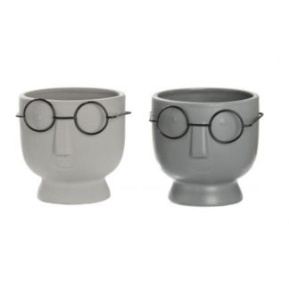 Übertopf | Pflanzgefäß 2er-Set TIMO & TOBI Keramik grau H 12 cm