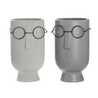 Übertopf | Pflanzgefäß 2er-Set TONI & TINO Casablanca Keramik grau H 22 cm
