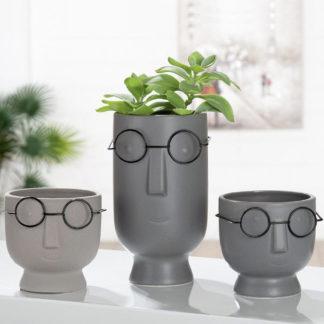Übertopf | Pflanzgefäß 2er-Set TONI & TINO Keramik grau H 22 cm