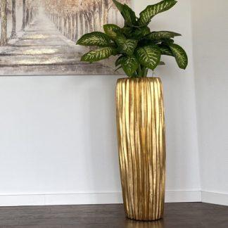 Bodenvase HARMONY maxi Rillenstruktur gold H 97 | 140 | 180 cm