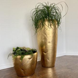 Bodenvase Pflanzgefäß ADAM antik gold H 105 | 42 cm