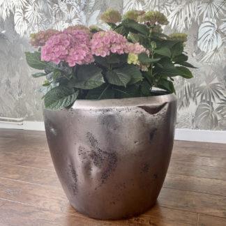 Bodenvase Pflanzgefäß ADAM silber H 105 | 49 | 39 cm