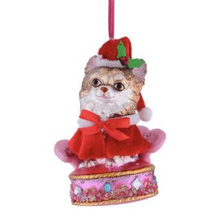 Weihnachtsbaumschmuck HUND AUF PLÜSCHSESSEL GiftCompany H 14 cm