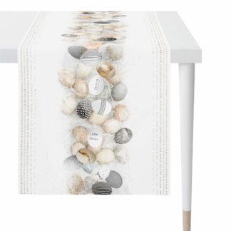 Tischläufer Apelt 1556 col. 89 beige-schwarz HAPPY EASTER 45x135 cm