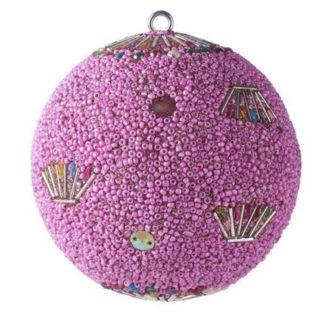 Weihnachtskugel 2er Set OPIUM GiftCompany Blumenmuster, Perlen, Pailletten, pink ø 10 cm