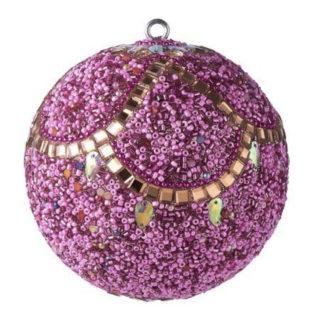 Weihnachtskugel 2er Set OPIUM GiftCompany eckige Steine, Perlen, rosa ø 10 cm