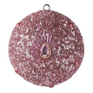 Weihnachtskugel 2er Set OPIUM GiftCompany Pfaumuster, Perlen, rosa ø 10 cm