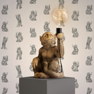 Tischlampe Affe ABU Werner Voss gold H 39 cm