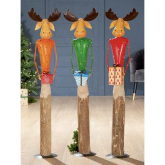 Weihnachtsdeko Holzrentier 3er-Set COMET Casablanca H 27 | 47 | 109 cm