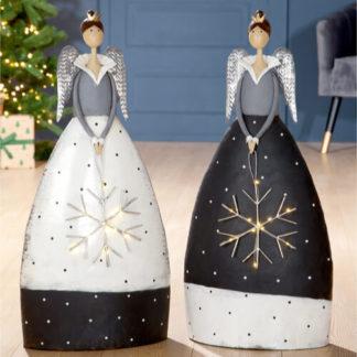 Weihnachtsdeko Metall ENGEL mit LED-Schneeflocke Casablanca H 74 cm