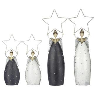 Weihnachtsdeko Metall ENGEL mit LED-Stern Casablanca H 75   89 cm
