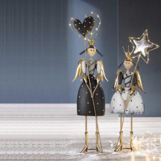 Weihnachtsdeko Metall LED-Engel JULE & JULIA 2er-Set Casablanca H 88 cm