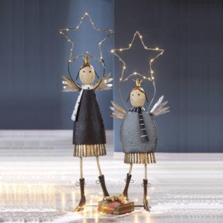 Weihnachtsdeko Metall LED-Engel STELLA & STAR 2er-Set Casablanca H 76 cm