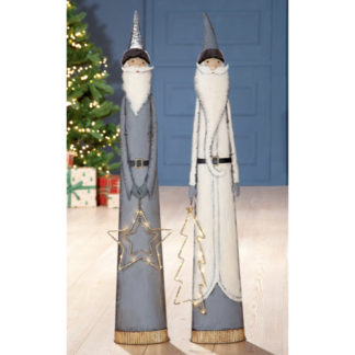 Weihnachtsdeko Metall SANTA mit LED Stern   Tannenbaum Casablanca H 98 cm