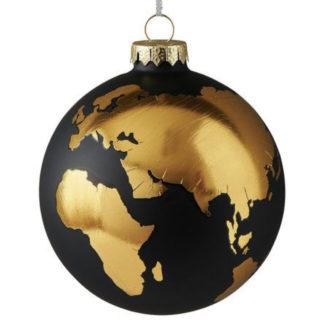 Weihnachtskugel 2er Set WELTKUGEL GiftCompany schwarz / gold ø 10 cm