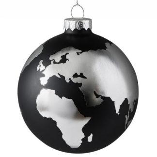 Weihnachtskugel 2er Set WELTKUGEL GiftCompany schwarz / silber ø 10 cm