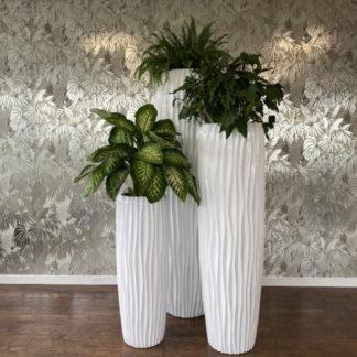 Bodenvase HARMONY maxi Rillenstruktur weiß H 97 | 140 | 180 cm