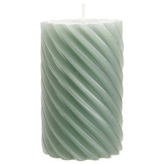 Stumpenkerze 4er-Set RUSTIC TWISTED smaragd 11 x 7 cm